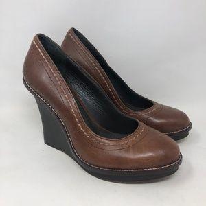 True Religion Brown Leather Wedge Heel Pumps 10